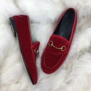 Gucci Red Velvet Jordaan Loafer